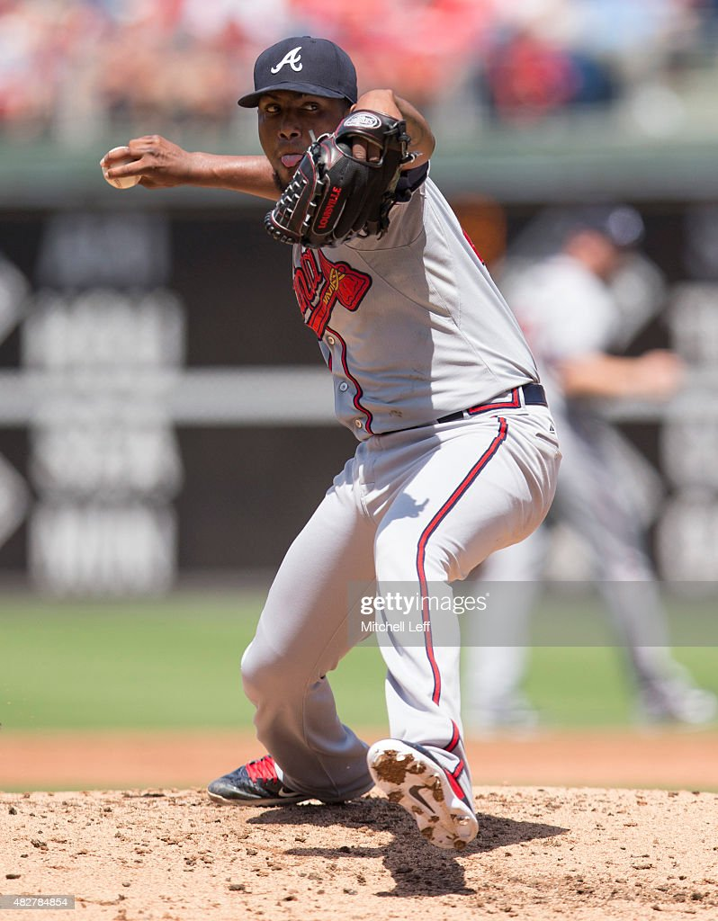 Julio Teheran #49 of the Atlanta Braves throws a pitch in the bottom of the second inning against the Philadelphia Phillies on August 2, 2015 at the Citizens Bank Park in Philadelphia, Pennsylvania. The Braves defeated the Phillies 6-2.