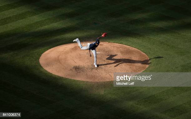 Julio Teheran of the Atlanta Braves throws a pitch in the bottom of the fourth inning against the Philadelphia Phillies in game two of the...