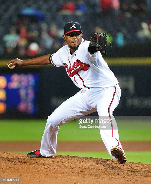 Julio Teheran of the Atlanta Braves throws a third inning pitch against the St Louis Cardinals at Turner Field on October 2 2015 in Atlanta Georgia