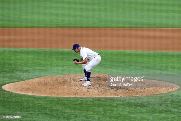 Julio Urias of the Los Angeles Dodgers celebrates after defeating the Tampa Bay Rays 31 in Game Six to win the 2020 MLB World Series at Globe Life...