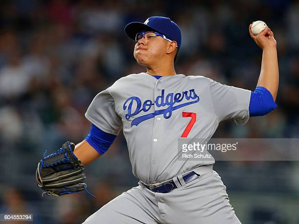 Julio Urias of the Los Angeles Dodgers delivers a pitch against the New York Yankees during the first inning of a game at Yankee Stadium on September...