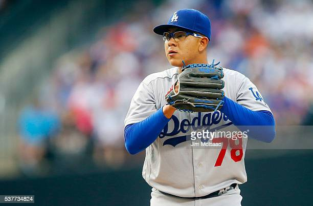 Julio Urias of the Los Angeles Dodgers in action against the New York Mets at Citi Field on May 27 2016 in the Flushing neighborhood of the Queens...