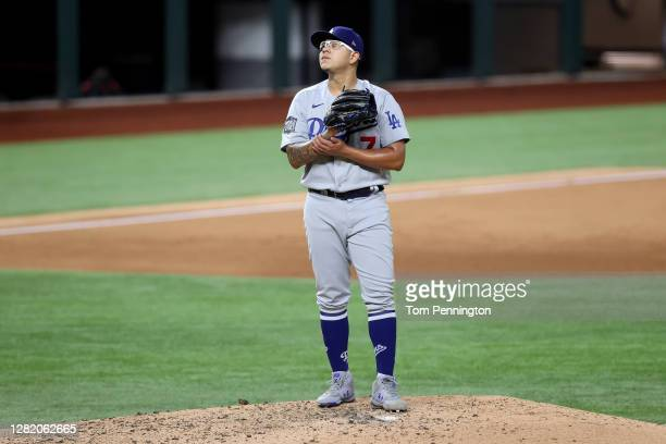 Julio Urias of the Los Angeles Dodgers is taken out of the game against the Tampa Bay Rays during the fifth inning in Game Four of the 2020 MLB World...