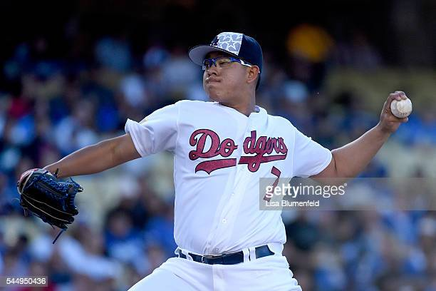 Julio Urias of the Los Angeles Dodgers pitches against the Baltimore Orioles at Dodger Stadium on July 4 2016 in Los Angeles California