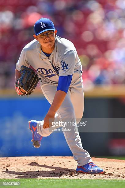 Julio Urias of the Los Angeles Dodgers pitches against the Cincinnati Reds at Great American Ball Park on August 21 2016 in Cincinnati Ohio
