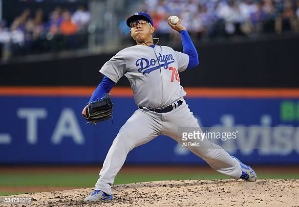 Julio Urias of the Los Angeles Dodgers pitches against the New York Mets during their game at Citi Field on May 27 2016 in New York City
