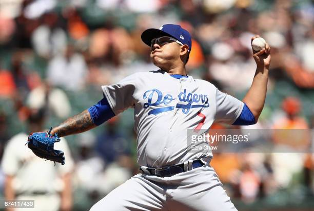 Julio Urias of the Los Angeles Dodgers pitches against the San Francisco Giants in the first inning at ATT Park on April 27 2017 in San Francisco...