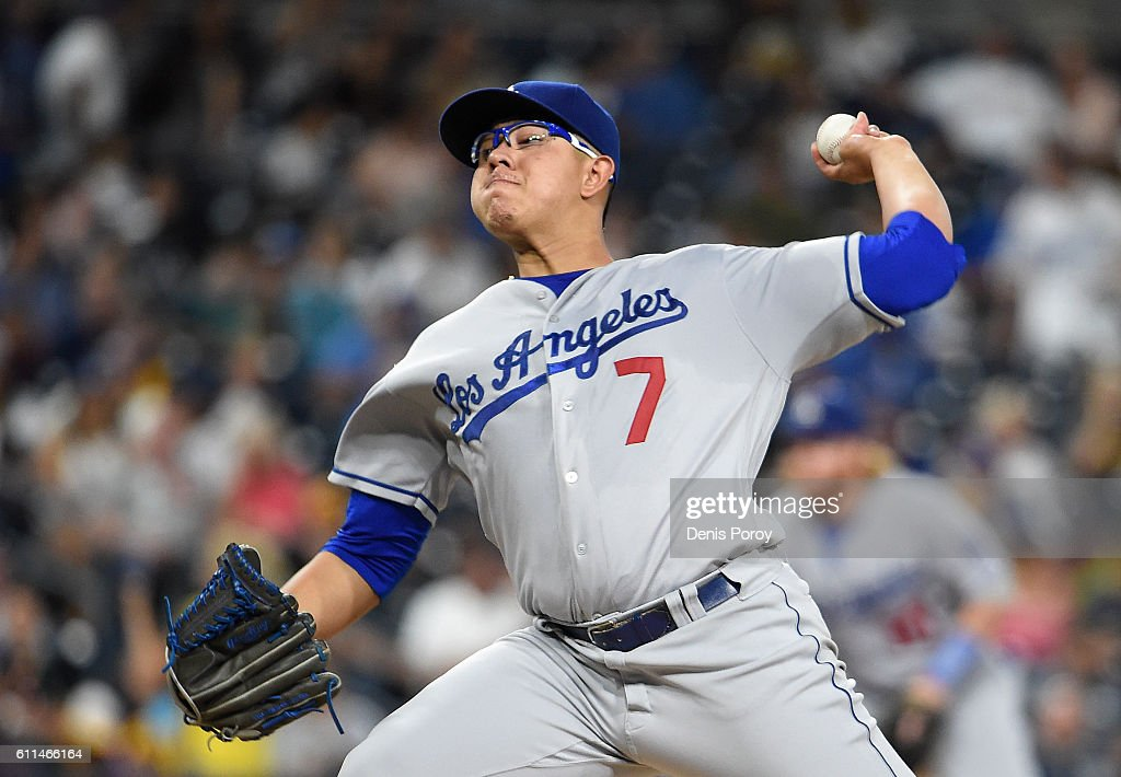 Julio Urias #7 of the Los Angeles Dodgers pitches during the second inning of a baseball game against the San Diego Padres at PETCO Park on September 29, 2016 in San Diego, California.
