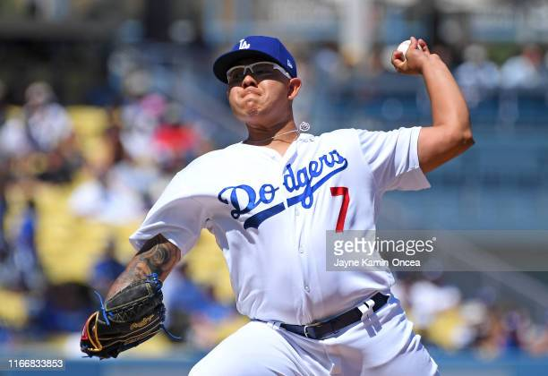 Julio Urias of the Los Angeles Dodgers pitches in the first inning of the game against the San Francisco Giants at Dodger Stadium on September 8,...