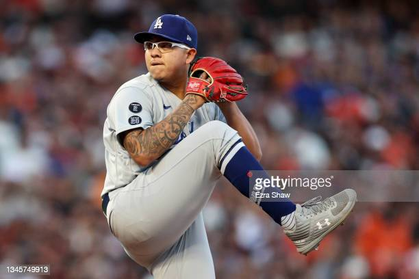 Julio Urias of the Los Angeles Dodgers pitches in the first inning against the San Francisco Giants during Game 2 of the National League Division...
