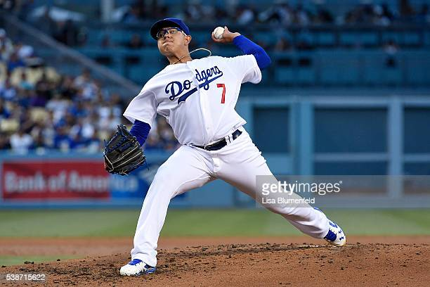 Julio Urias of the Los Angeles Dodgers pitches in the first inning against the Colorado Rockies at Dodger Stadium on June 7 2016 in Los Angeles...