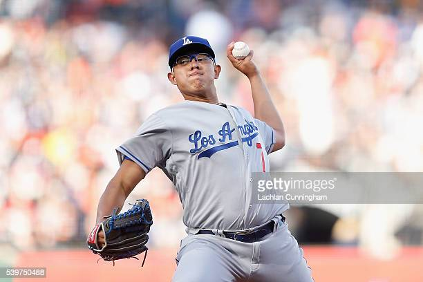 Julio Urias of the Los Angeles Dodgers pitches in the third inning against the San Francisco Giants at ATT Park on June 12 2016 in San Francisco...