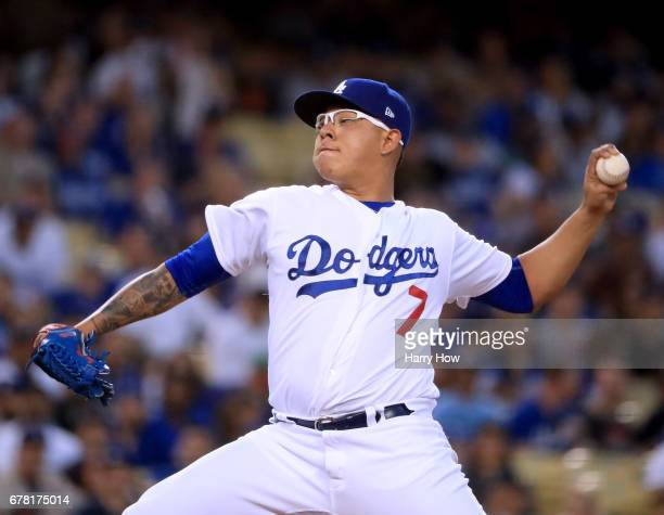 Julio Urias of the Los Angeles Dodgers pitches to the San Francisco Giants during the second inning at Dodger Stadium on May 3 2017 in Los Angeles...