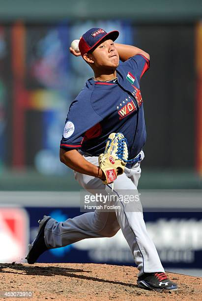 Julio Urias of the World Team during the SiriusXM AllStar Futures Game at Target Field on July 13 2014 in Minneapolis Minnesota