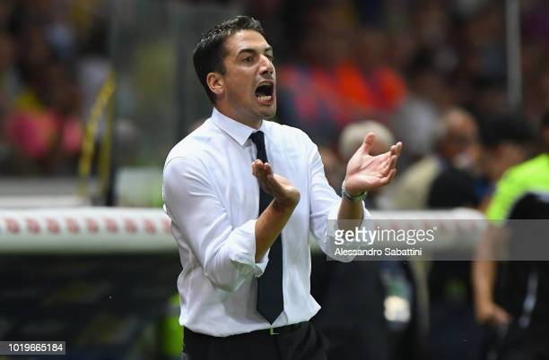 Julio Velàzquez head coach of Udinese Calcio gestures during the serie A match between Parma Calcio and Udinese at Stadio Ennio Tardini on August 19...