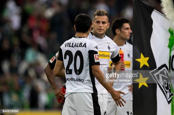 Julio Villalba and Raul Bobadilla of Borussia Moenchengladbach react after the Bundesliga match between Borussia Moenchengladbach and Eintracht...