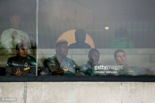Julio Villalba BaMuaka Simakala Mamadou Doucoure and Thorgan Hazard of Borussia Moenchengladbach seen on the VIP Lounge during the friendly match...