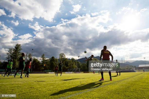 Julio Villalba of Borussia Moenchengladbach controls the ball during a training session at the Training Camp of Borussia Moenchengladbach on July 17...