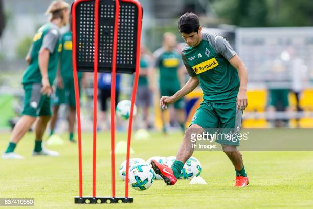 Julio Villalba of Borussia Moenchengladbach controls the ball during a training session at the Training Camp of Borussia Moenchengladbach on July 19...