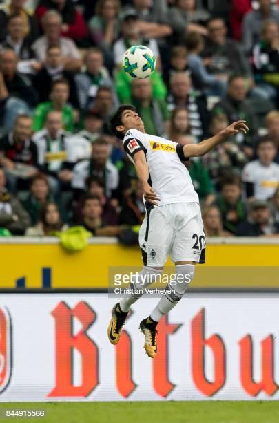 Julio Villalba of Borussia Moenchengladbach controls the ball during the Bundesliga match between Borussia Moenchengladbach and Eintracht Frankfurt...