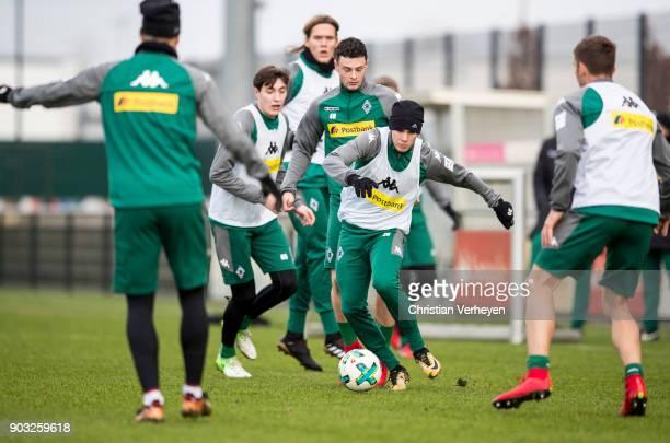 Julio Villalba of Borussia Moenchengladbach in action during a training session of Borussia Moenchengladbach at BorussiaPark on January 10 2018 in...