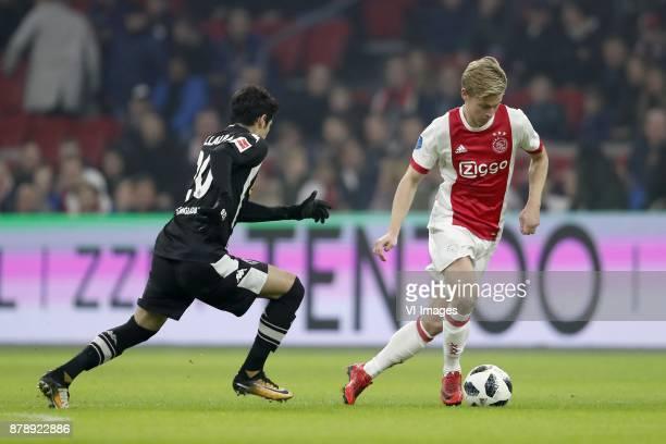 Julio Villalba of Borussia Monchengladbach Frenkie de Jong of Ajax during the international friendly match between Ajax Amsterdam and Borussia...