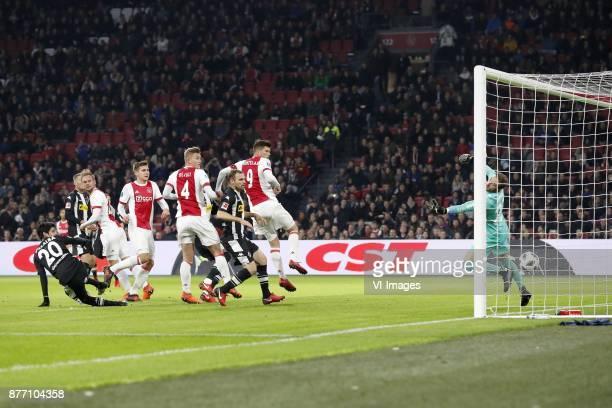 Julio Villalba of Borussia Monchengladbach Louis Beyer of Borussia Monchengladbach Siem de Jong of Ajax Maximilian Wober of Ajax Matthijs de Ligt of...