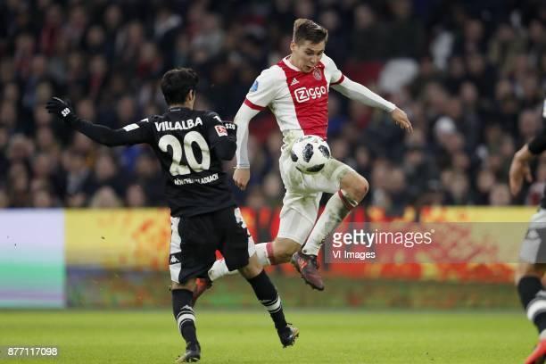 Julio Villalba of Borussia Monchengladbach Maximilian Wober of Ajax during the international friendly match between Ajax Amsterdam and Borussia...