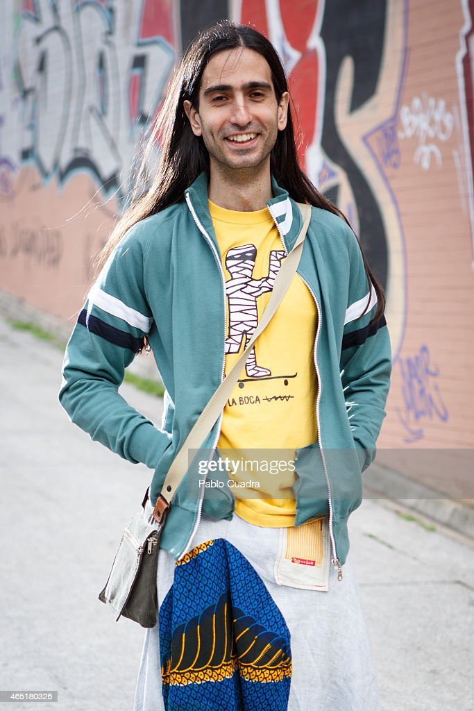 Julio wears, Converse All Star trainers and Dolores Promesa jacket on March 3, 2015 in Madrid, Spain.