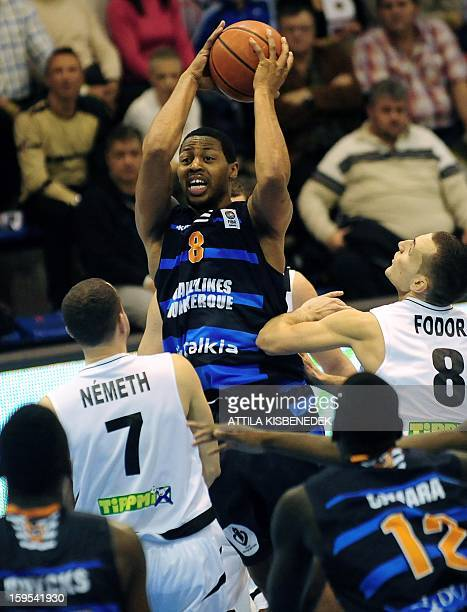 Julis Johnson of French BCM Gravelines Dunkerque scores a basket against Hungarian KK Szolnoki Olaj on January 15 2015 during their FIBA...