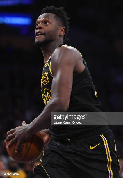 Julis Randall of the Los Angeles Lakers drives to the basket during the game against the Minnesota Timberwolves at Staples Center on April 6 2018 in...