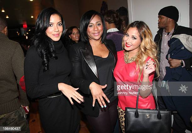 Julissa Bermudez Lannetta Pinkie Hay and Adrienne Bailon attend Beauty and the Brunch After Dark at VP Lounge on November 15 2012 in the Brooklyn...