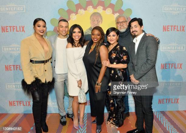 Julissa Calderon JJ Soria Karrie Martin Aaliyah Williams Annie Gonzalez Joaquín Cosío and Carlos Santos attend as Netflix Celebrates The Premiere Of...