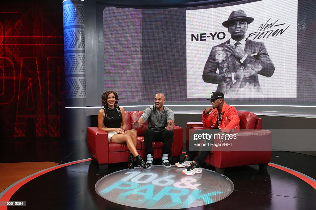 Julissa, Tigger, and Ne-Yo attend 106 & Park at BET studio on December 17, 2014 in New York City.