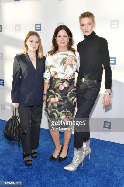 Julitta Dee Harden Scheel Marcia Gay Harden and Hudson Harden Scheel attend the Human Rights Campaign 2019 Los Angeles Dinner at JW Marriott Los...