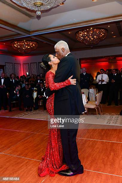 Julius and Dorys Erving dance at The Julius Erving Black Tie Ball Event at The Rittenhouse Hotel on September 13 2015 in Philadelphia Pennsylvania