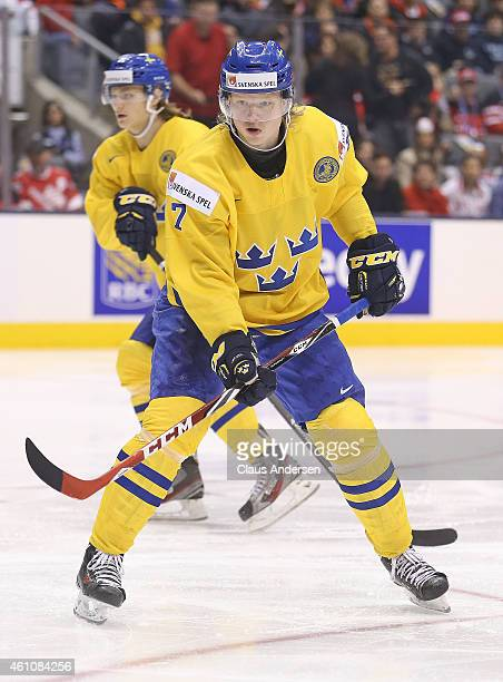 Julius Bergman of Team Sweden skates against Team Russia during a semifinal game in the 2015 IIHF World Junior Hockey Championship at the Air Canada...