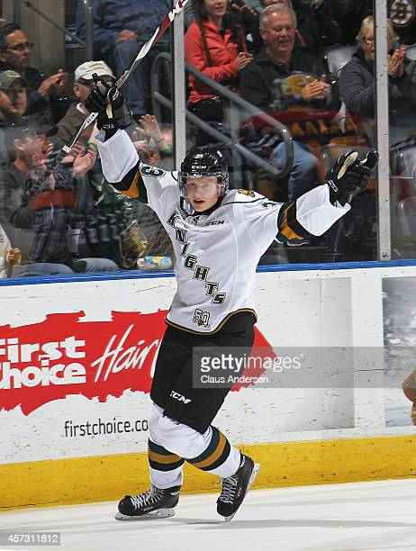 Julius Bergman of the London Knights celebrates a goal against the Erie Otters in an OHL game at the Budweiser Gardens on October 15 2014 in London...