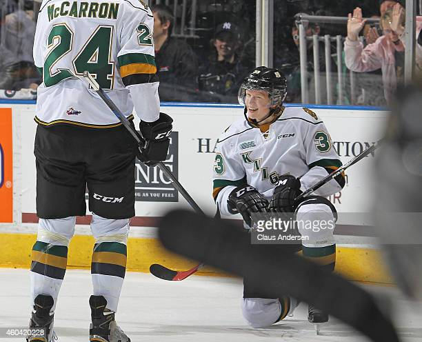 Julius Bergman of the London Knights celebrates his long distance empty net goal against the Plymouth Whalers in an OHL game at Budweiser Gardens on...
