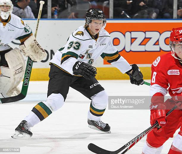 Julius Bergman of the London Knights defends against the Sault Ste Marie Greyhounds in an OHL game at Budweiser Gardens on October 31 2014 in London...