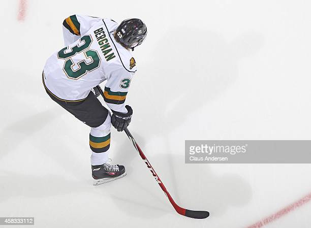 Julius Bergman of the London Knights plays against the Sudbury Wolves in an OHL game at the Budweiser Gardens on November 2 2014 in London Ontario...