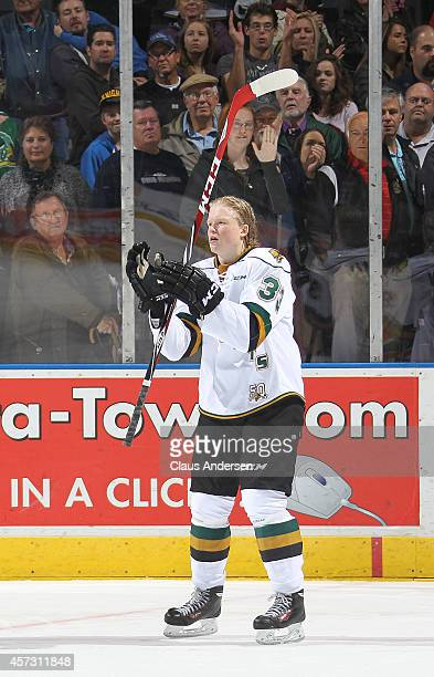 Julius Bergman of the London Knights salutes the crowd upon being named the 1st star against the Erie Otters in an OHL game at the Budweiser Gardens...