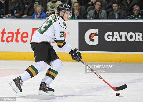 Julius Bergman of the London Knights skates with the puck against the Owen Sound Attack in an OHL game at Budweiser Gardens on November 14 2014 in...