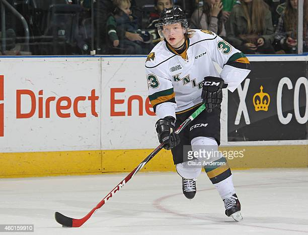 Julius Bergman of the London Knights skates with the puck against the North Bay Battalion in an OHL game at Budweiser Gardens on December 7 2014 in...