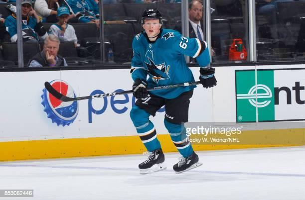 Julius Bergman of the San Jose Sharks skates against the Vegas Golden Knights at SAP Center on September 21 2017 in San Jose California