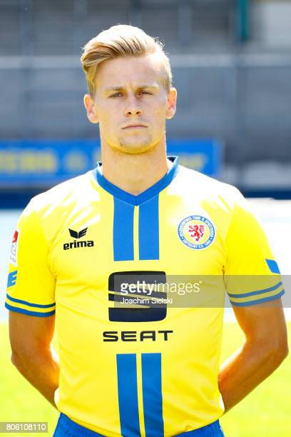 Julius Biada of Eintracht Braunschweig poses during the official team presentation of Eintracht Braunschweig at Eintracht Stadion on July 3 2017 in...