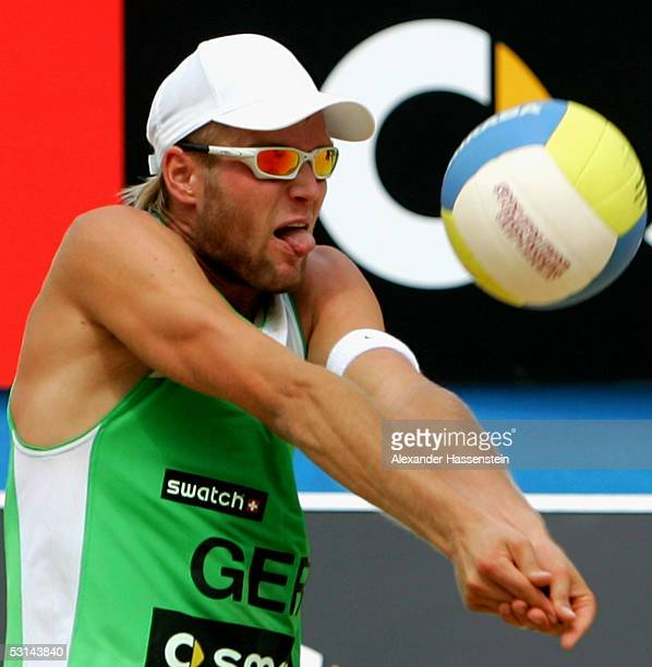 Julius Brink of Germany in action during the match between Markus Dieckmann and Jonas Reckermann of Germany and Kjell Schneider and Julius Brink of...