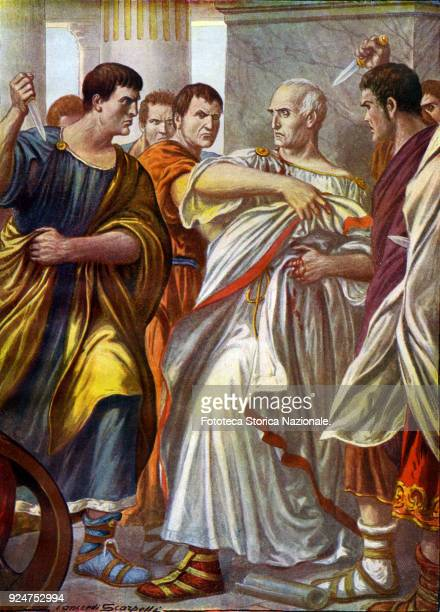 Julius Caesar Conjure of the Liberatores in Rome March 15 44 BC Illustration by Tancredi Scarpelli for the 'Storia d'Italia' narrated to the people...