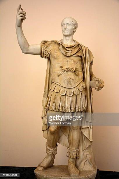 Julius Caesar head on a statue in military uniform Italy Late 2nd early 3rd Century AD