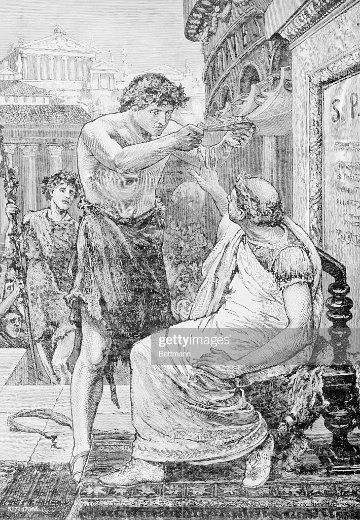 Woodcut After Julius Caesar Refusing Imperial Crown by Tadema : News Photo
